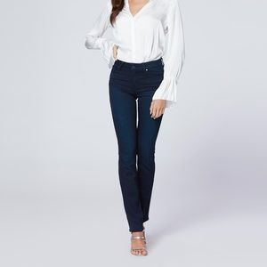 Paige mid rise Hoxton Straight dark wash jeans